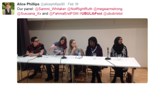 Panellists at UBU's intersectional feminist event