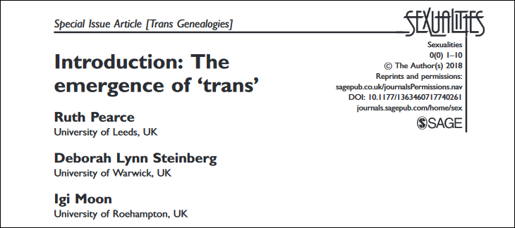 """Screenshot of the editorial article """"Introduction: The Emergence of Trans"""". The three authors' names are listed underneath the title."""