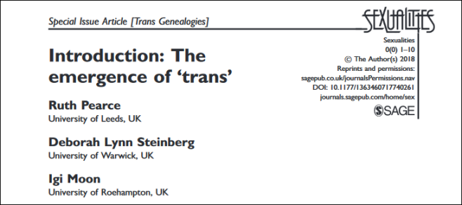 "Screenshot of the editorial article ""Introduction: The Emergence of Trans"". The three authors' names are listed underneath the title."